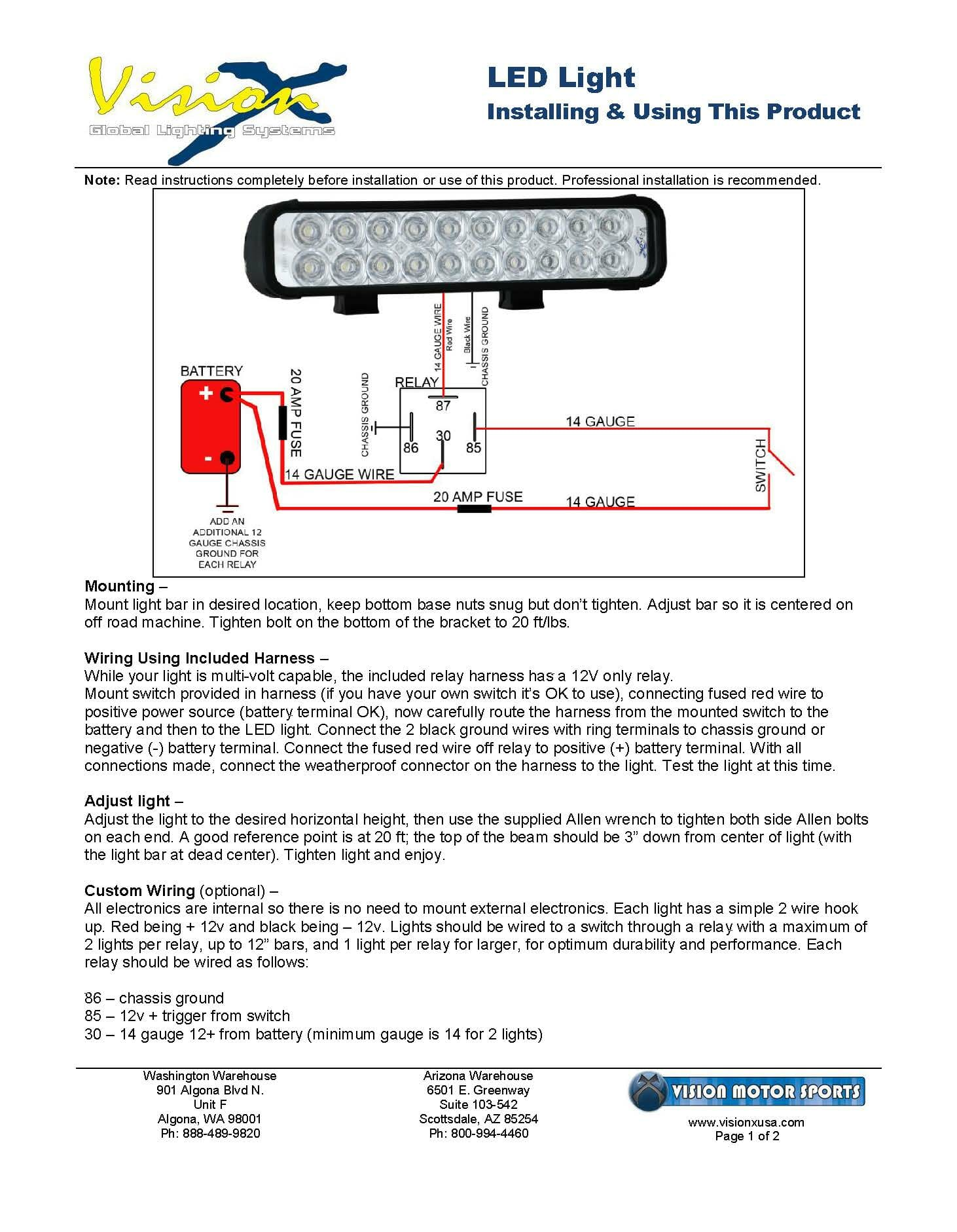 generic led light installation instructions vision x usa